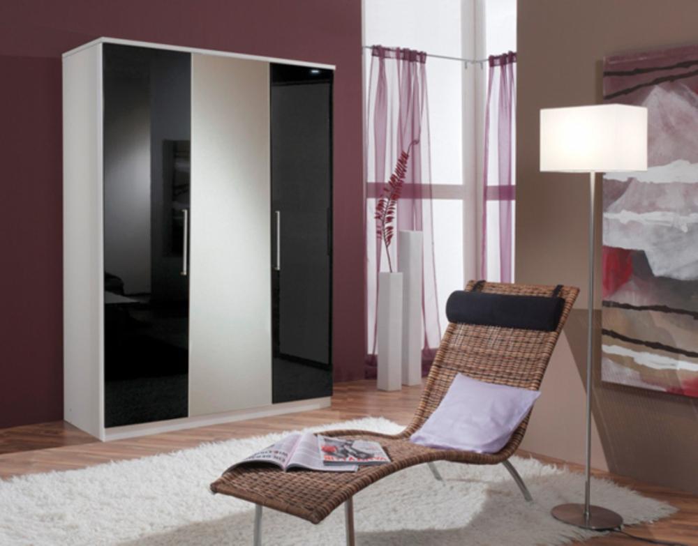armoire 3 portes gamma blanc noir. Black Bedroom Furniture Sets. Home Design Ideas