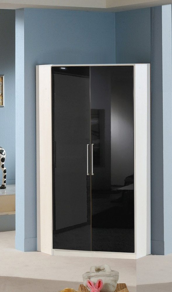 armoire d 39 angle 2 portes gamma blanc noir. Black Bedroom Furniture Sets. Home Design Ideas