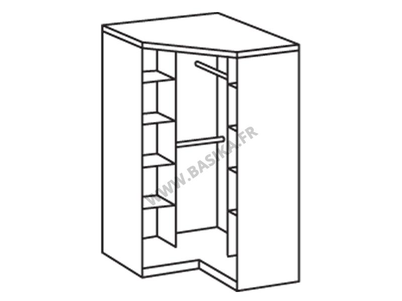 Armoire d 39 angle 2 portes gamma blanc noir - Tringle d angle pour dressing ...