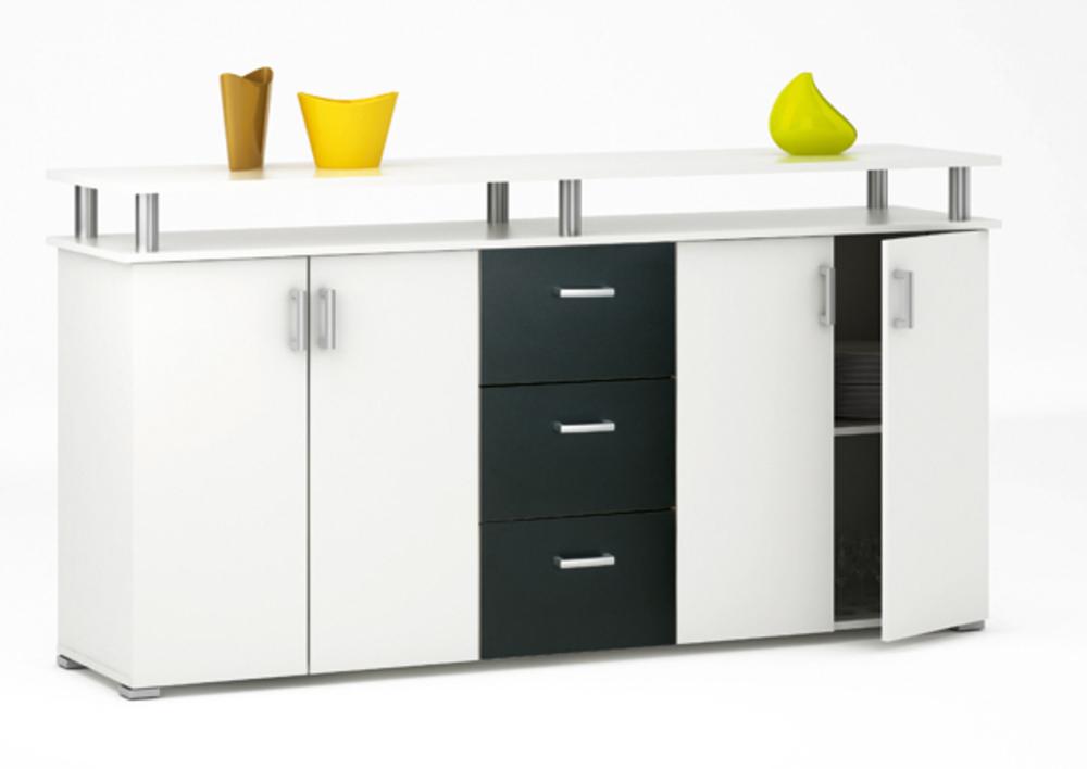 bahut 2 2 portes 3 tiroirs swift blanc noir mat. Black Bedroom Furniture Sets. Home Design Ideas