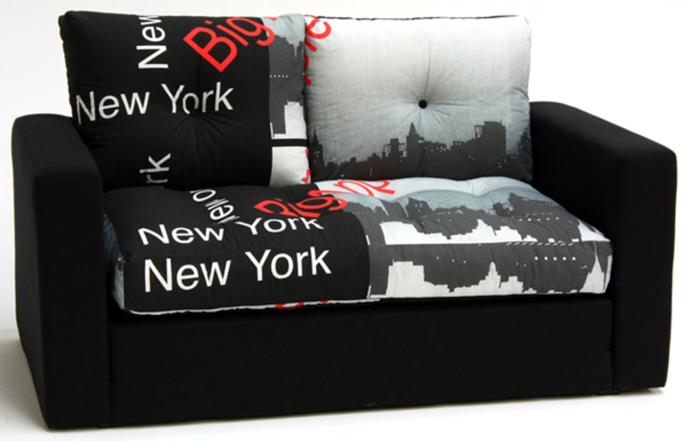 Canape lit deplimousse first tissu new york noir for Meuble new york