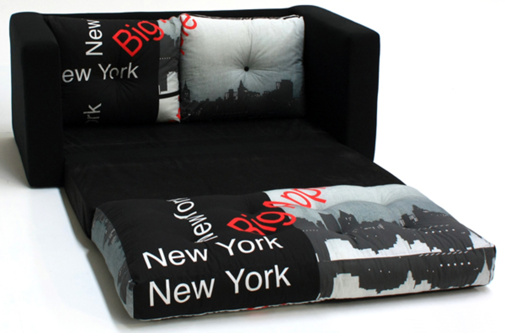 canape lit deplimousse first tissu new york noir. Black Bedroom Furniture Sets. Home Design Ideas