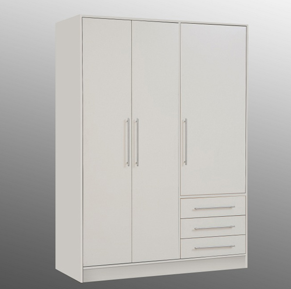 armoire 3 portes 3 tiroirs jupiter blanc mat