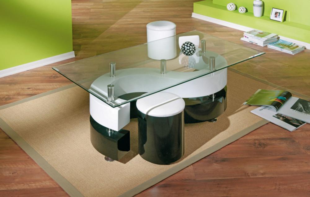 table basse 2 poufs serena noir blanc. Black Bedroom Furniture Sets. Home Design Ideas