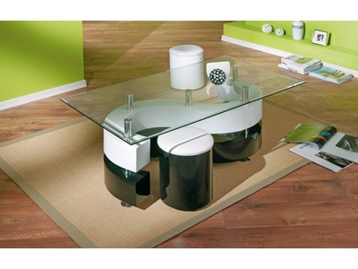 TABLE BASSE + 2 POUFS