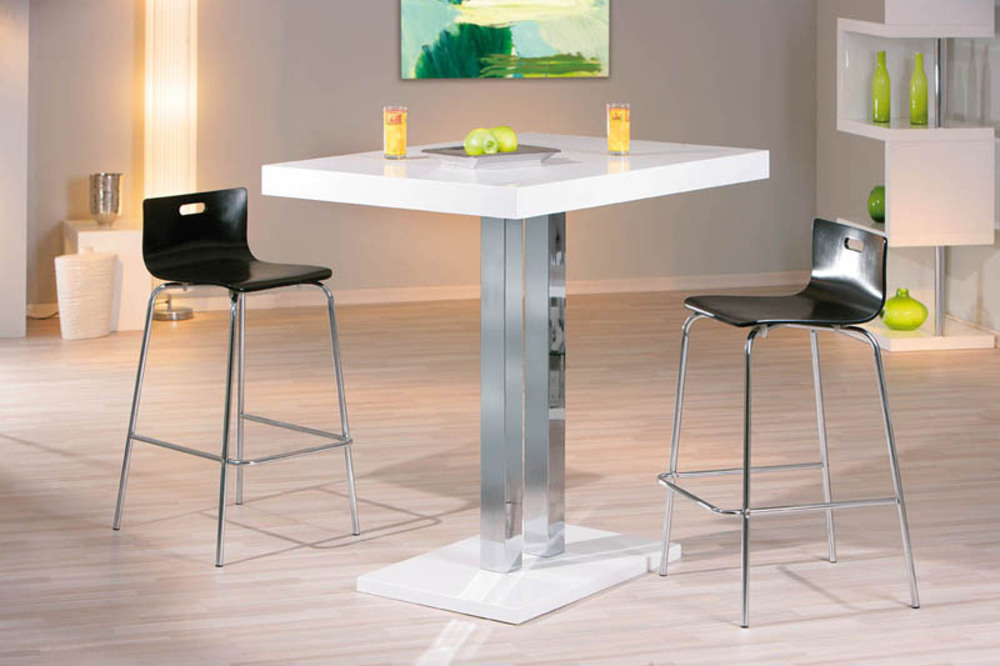 Table bar palazzi blanc chrome for Table bar haute blanche