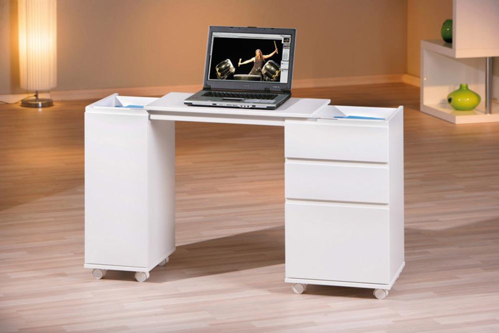 Bureau 1 porte 3 tiroirs laptop blanc