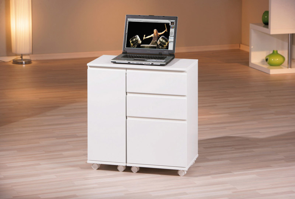 bureau 1 porte 3 tiroirs laptop blanc. Black Bedroom Furniture Sets. Home Design Ideas