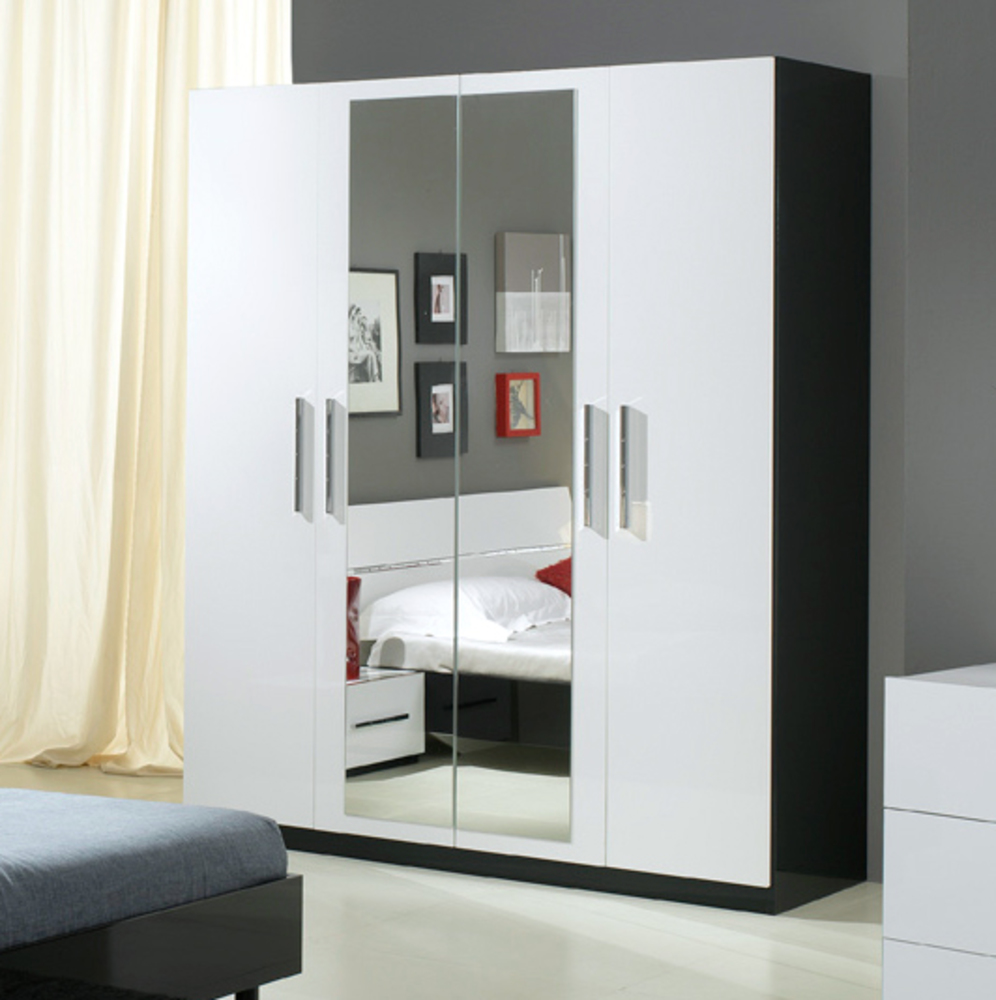 armoire 4 portes gloria noir et blanc blanc noir. Black Bedroom Furniture Sets. Home Design Ideas