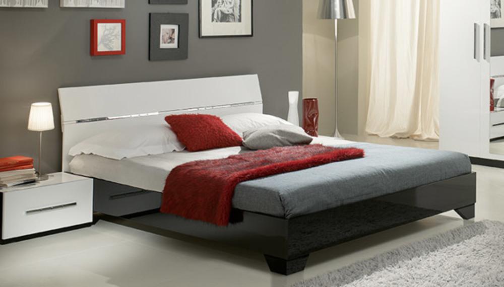 lit gloria noir et blanc blanc noir l 166 x h 83 x p 208. Black Bedroom Furniture Sets. Home Design Ideas