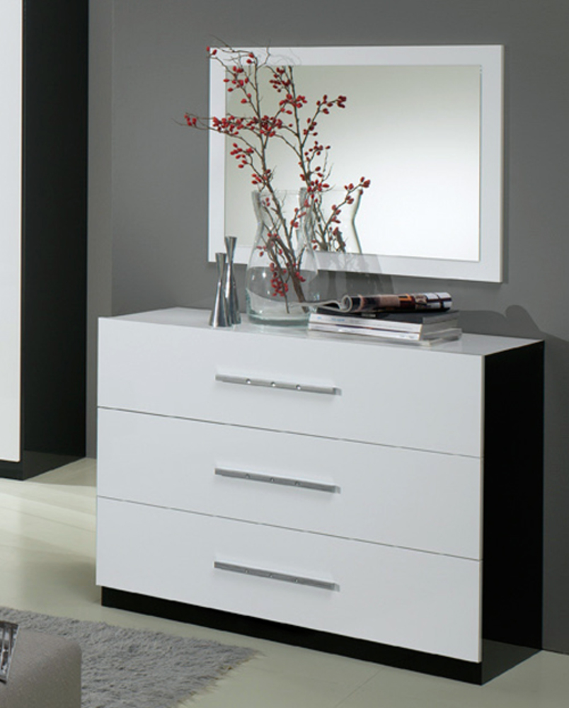 commode 3 tiroirs gloria laqu e noir et blanc blanc noir. Black Bedroom Furniture Sets. Home Design Ideas