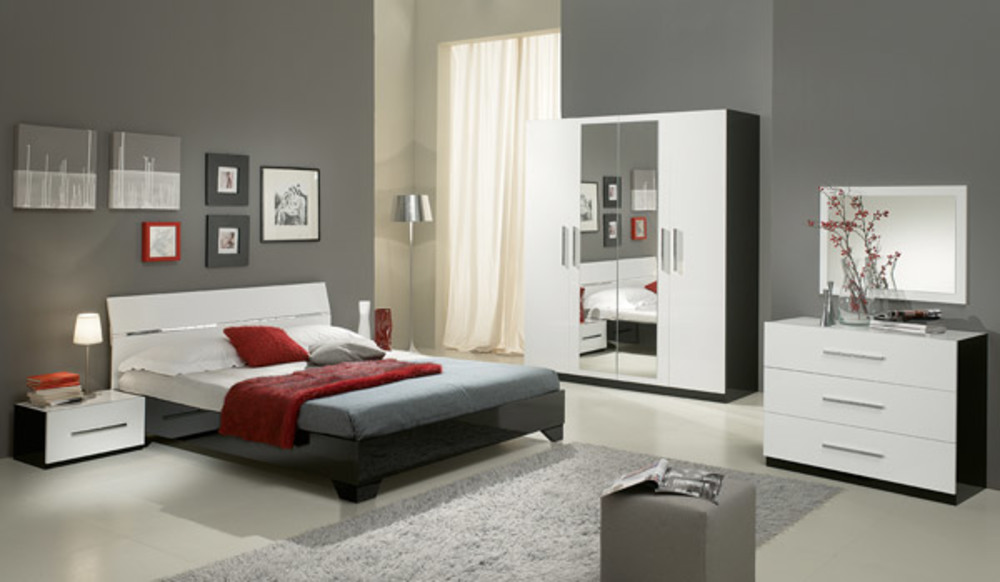 commode 3 tiroirs gloria laqu e noir et blanc blanc noir. Black Bedroom Furniture Sets. Home Design Ideas