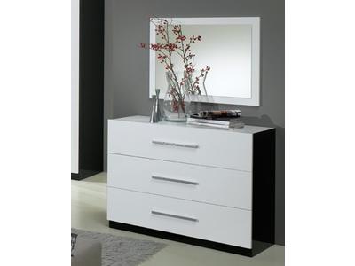 Commode 3 tiroirs Gloria laquée noir et blanc