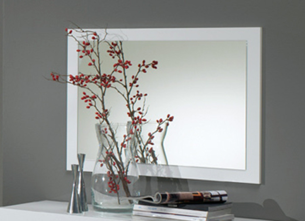 Miroir gloria noir et blanc blanc for Miroir chambre