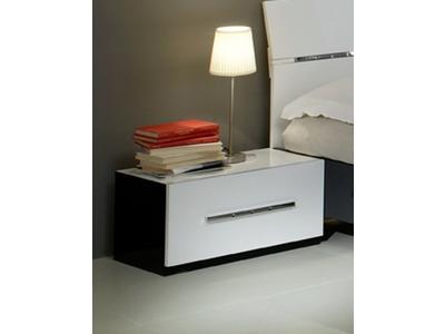 Chevet 1 tiroir Gloria laquée noir et blanc