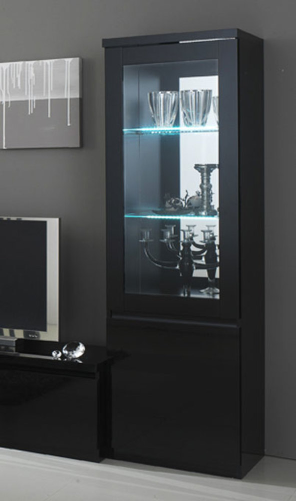 vitrine 1 porte roma laque noir noir. Black Bedroom Furniture Sets. Home Design Ideas