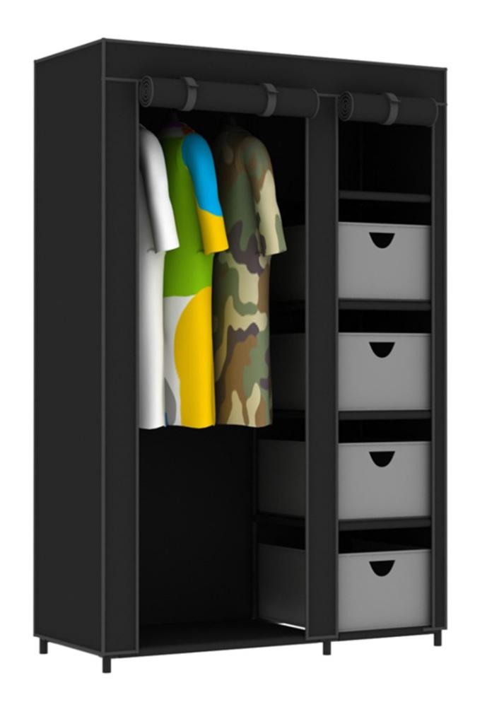 penderie tissu nomad 4 noir. Black Bedroom Furniture Sets. Home Design Ideas