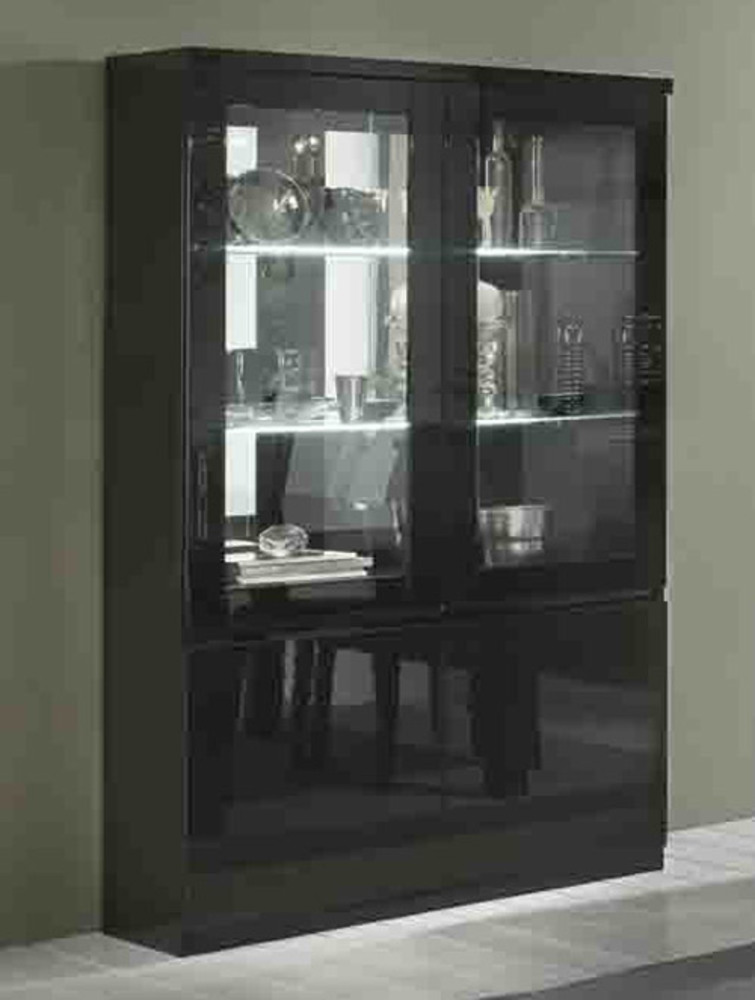 vitrine 2 portes roma laque noir noir. Black Bedroom Furniture Sets. Home Design Ideas