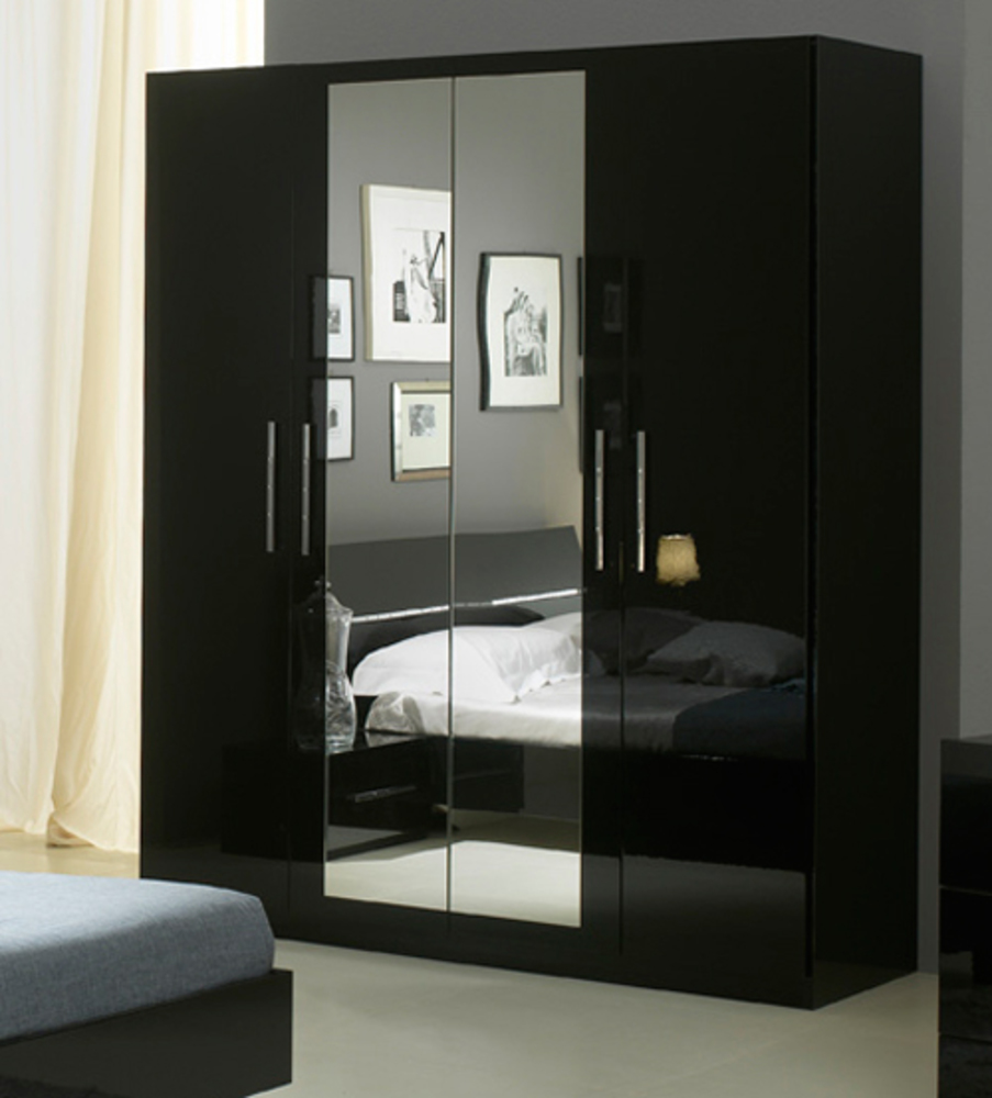 armoire 4 portes gloria noir noir. Black Bedroom Furniture Sets. Home Design Ideas