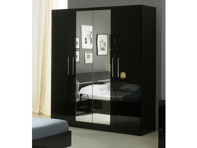 armoire 4 portes gloria laqu e noir. Black Bedroom Furniture Sets. Home Design Ideas