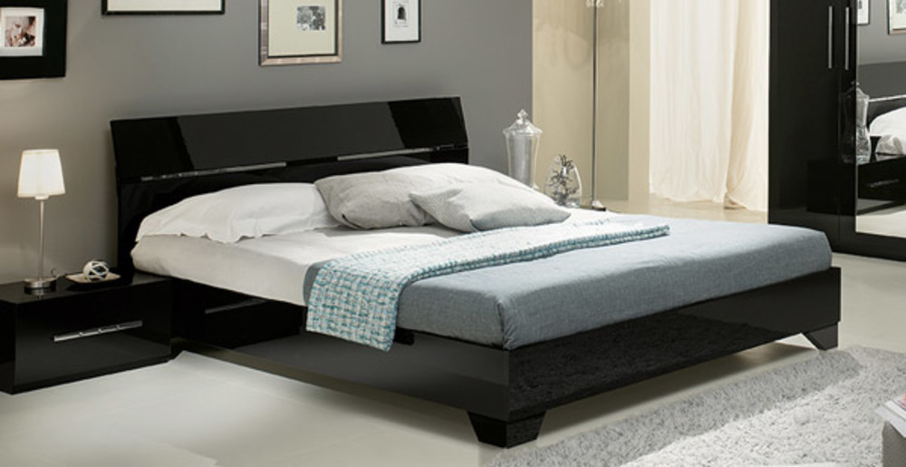 Lit gloria noir noir l 166 x h 83 x p 208 - Tete de lit italienne ...