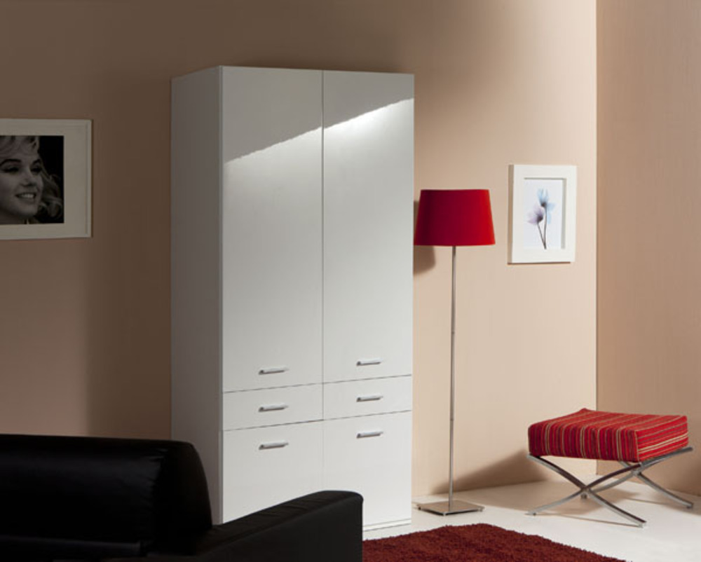 armoire 2 portes 4 tiroirs versa blanc. Black Bedroom Furniture Sets. Home Design Ideas