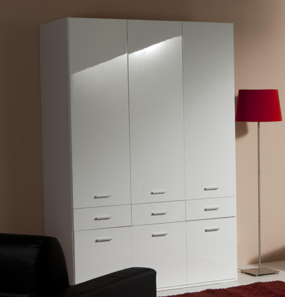 armoire 3 portes 6 tiroirs versa blanc. Black Bedroom Furniture Sets. Home Design Ideas