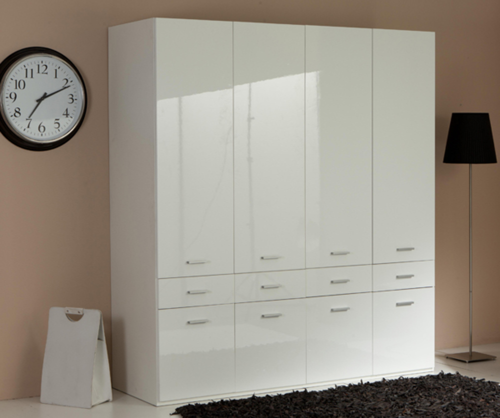 armoire 4 portes 8 tiroirs versa blanc. Black Bedroom Furniture Sets. Home Design Ideas