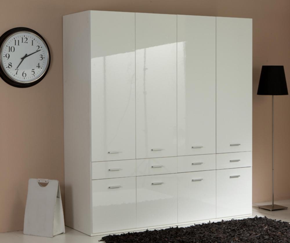 armoire 4 portes 8 tiroirs versa blanc. Black Bedroom Furniture Sets. Home Design Ideas