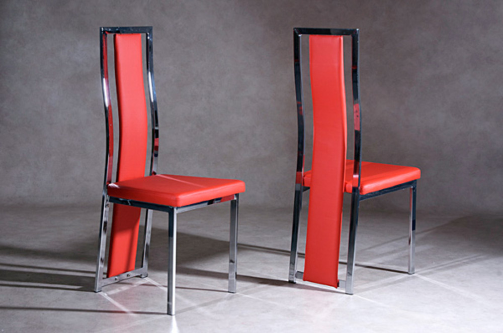 Chaise ice rouge for Salle a manger rouge