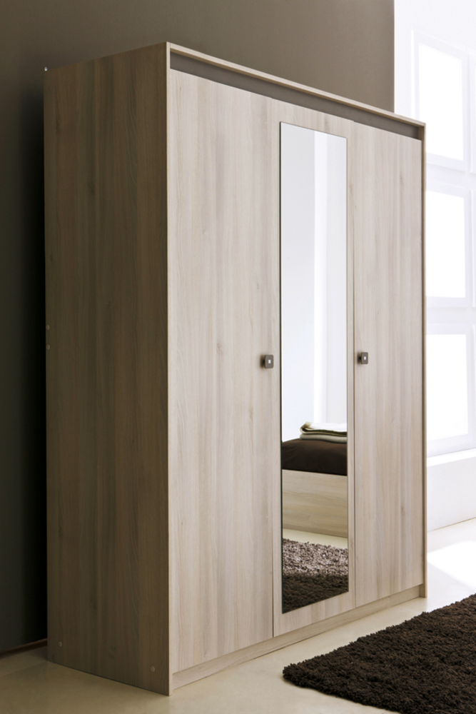 armoire 3 portes miroir francesca acacia. Black Bedroom Furniture Sets. Home Design Ideas