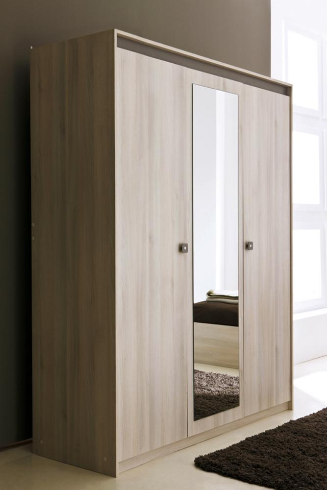 Armoire 3 portes miroir francesca acacia - Armoire miroir chambre ...