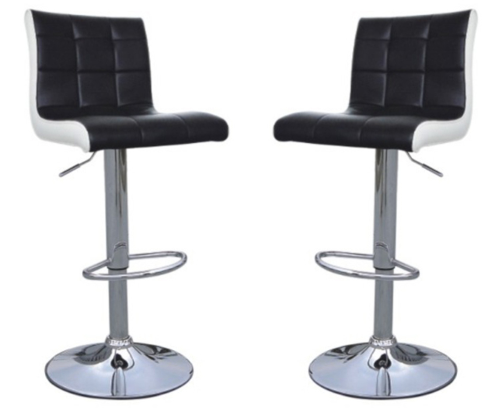 Lot 2 tabourets de bar dom noir blanc for Chaise cuir noir pas cher