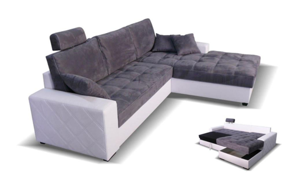Canape d 39 angle droite convertible mondo blanc microfibre grise - Salon d angle microfibre ...