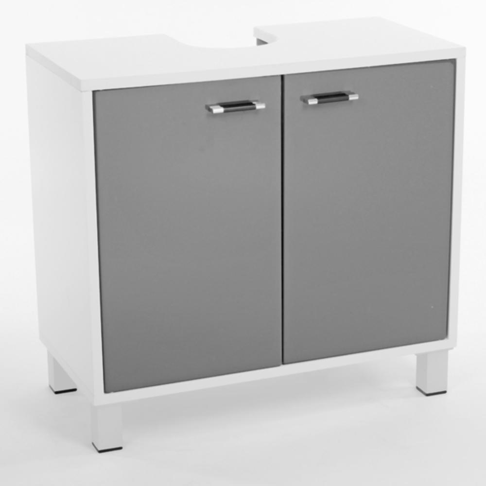 Meuble sous lavabo xeno blanc gris for Meuble salle de bain sous lavabo
