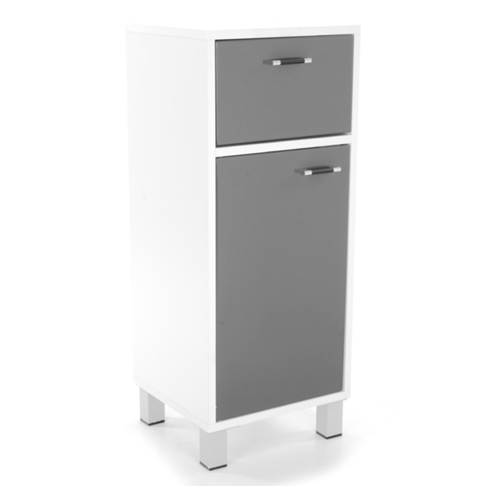 Meuble bas 1 porte 1 tiroir xeno 1 blanc gris for Meuble salle de bain tiroir coulissant