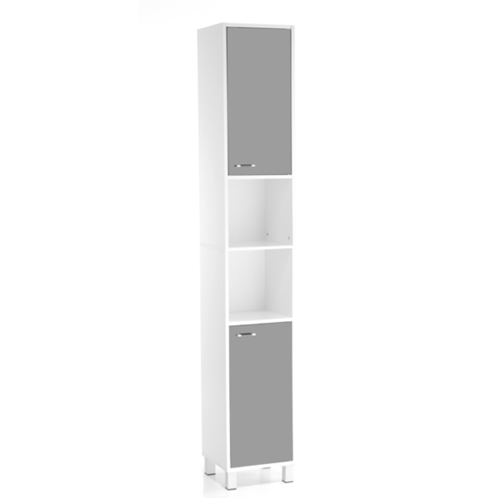 colonne 2 portes 1 etagere xeno 2 blanc gris. Black Bedroom Furniture Sets. Home Design Ideas