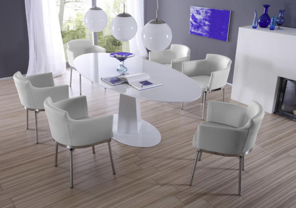 Chaise pivotante jet set blanc for Set de salle a manger