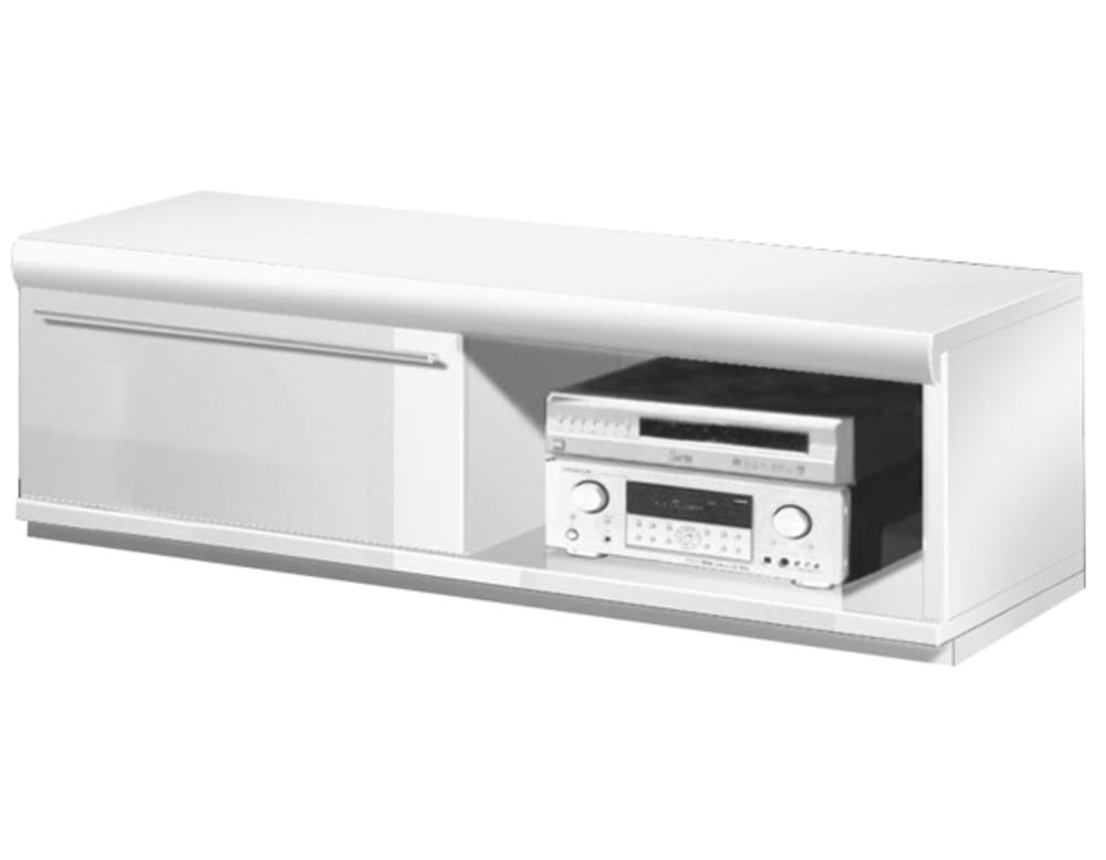 Meuble tv 1 porte white blanc brillant for Meuble hifi porte