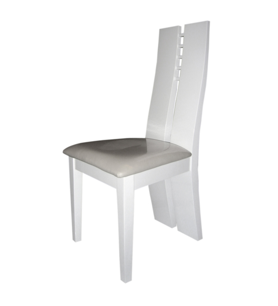Chaise sejour white blanc brillant for Chaises salle manger capitonnees