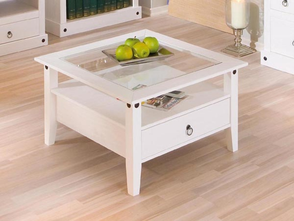 Table basse 1 tiroir provence blanc for Table de salon petite taille