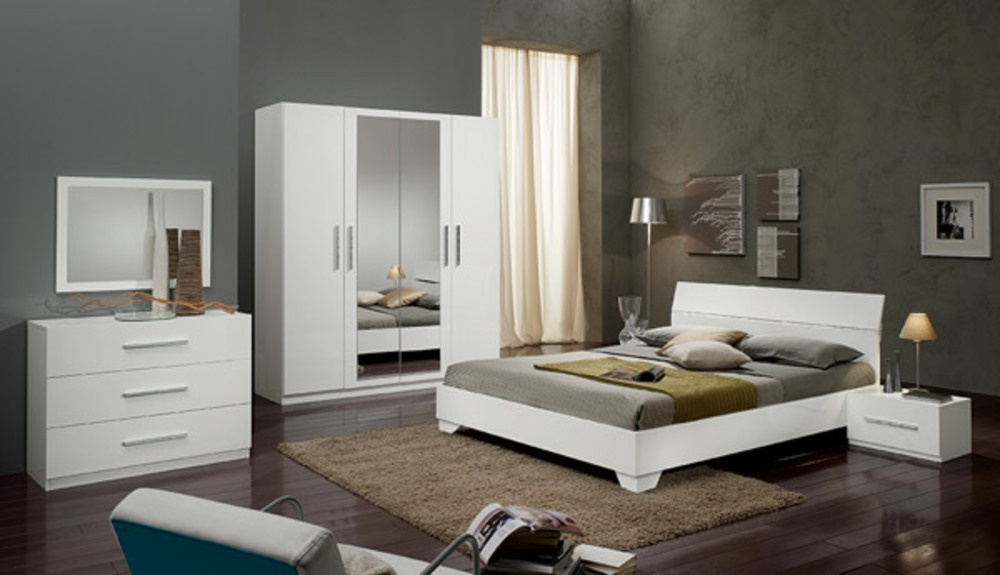 Lit gloria blanc blanc l 96 x h 83 x p 198 for Chambre a coucher laque blanc adulte