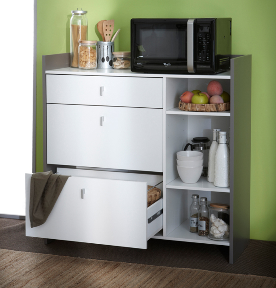 desserte micro ondes gm battery blanc gris. Black Bedroom Furniture Sets. Home Design Ideas