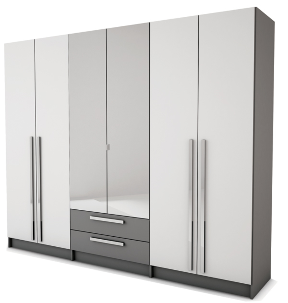 armoire 6 portes 2 tiroirs effy blanc gris. Black Bedroom Furniture Sets. Home Design Ideas
