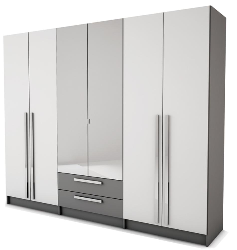 Armoire 6 portes 2 tiroirs effy blanc gris - Coulisse de tiroir grande longueur ...