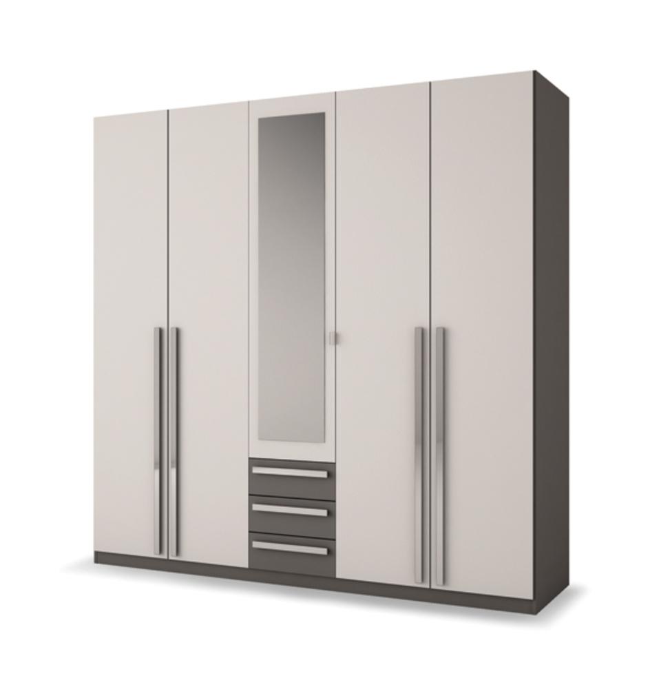 armoire 5 portes 3 tiroirs effy blanc gris. Black Bedroom Furniture Sets. Home Design Ideas