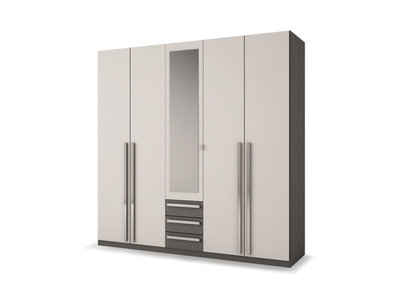 Armoire 5 portes 3 tiroirs Effy blanc/gris