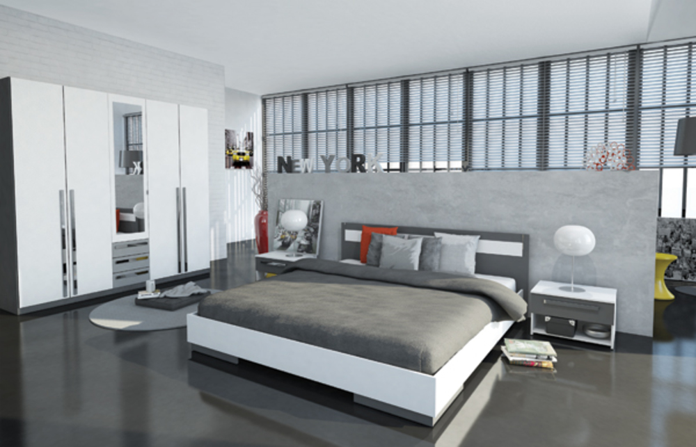 lit effy blanc gris. Black Bedroom Furniture Sets. Home Design Ideas