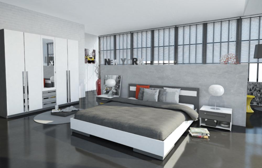 Lit effy blanc gris l 171 5 x h 85 x p 203 4 for Chambre adulte complete contemporaine maguy 4