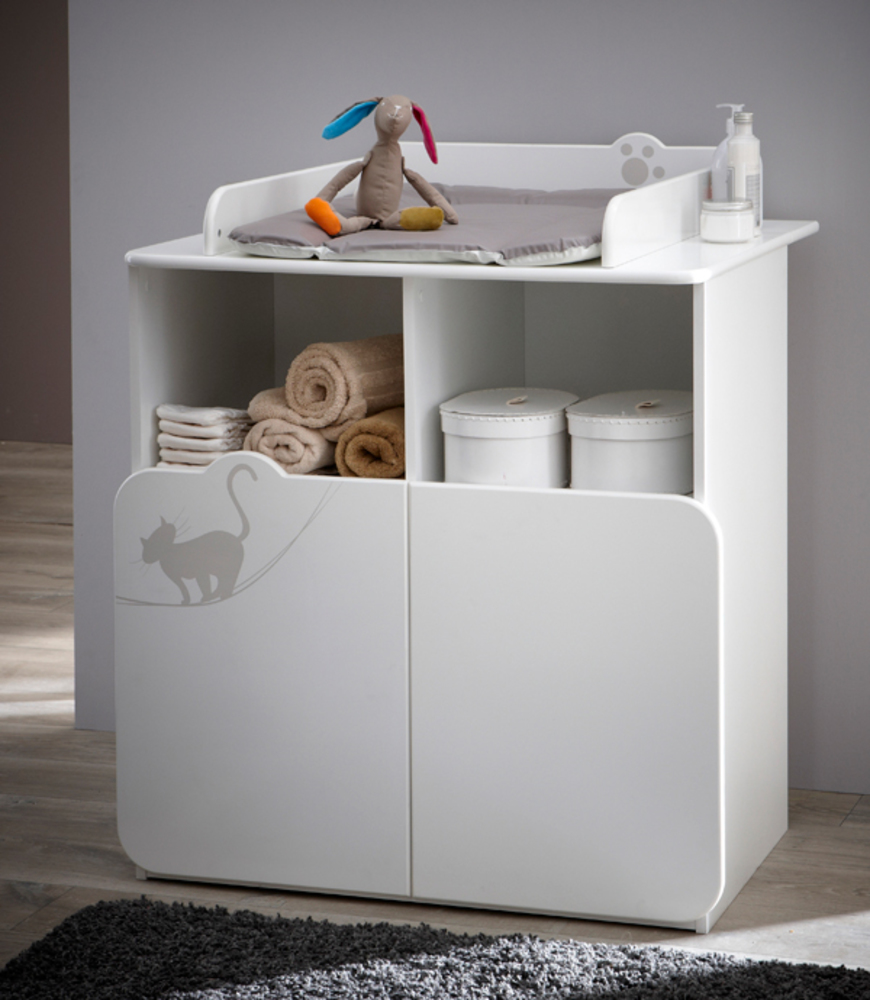 Commode a langer kitty blanc for Meuble a langer